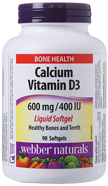 Webber Naturals Calcium with Vitamin D3, 600 mg/400 IU, 90 Liquid Softgels