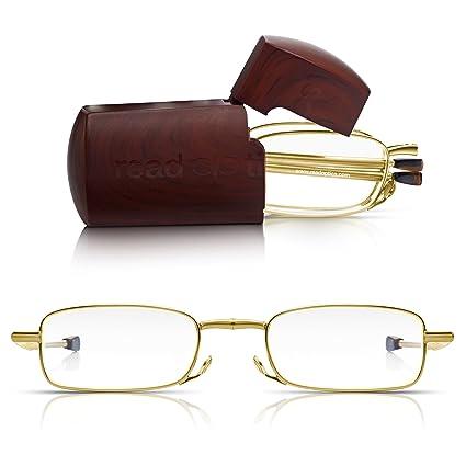 Read Optics Gafas Plegables Hombre/Mujer de Lectura Graduadas +1.50 para Leer | Montura Oro | Ultra Compactas con Estuche Rígido de Bolsillo Incluido