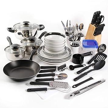Gibson Home Essential Total Kitchen - Juego de accesorios para cocina (83 piezas, acero inoxidable), color negro: Amazon.es: Hogar