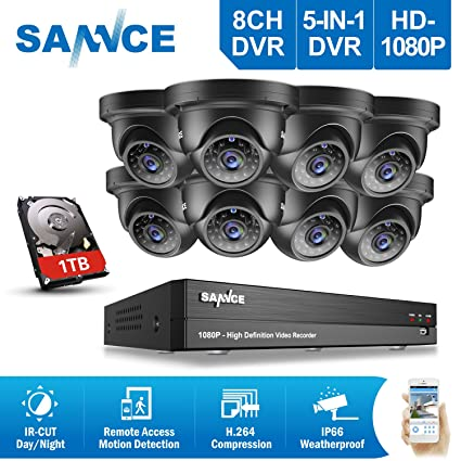 P2p 8x 19201080p 2 0mp Weatherproof Dome Camera Motion Detect Home Security System Kits 8 Channel