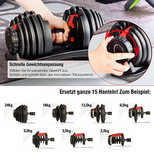 Amazon.com: Sportstech Sport Ripping Ah200 Adjustable 15In1 With Innovative Click System From 1 To 24 KgWith Safety Gear Ring And Anti-Slip Grab Bar 15 ...