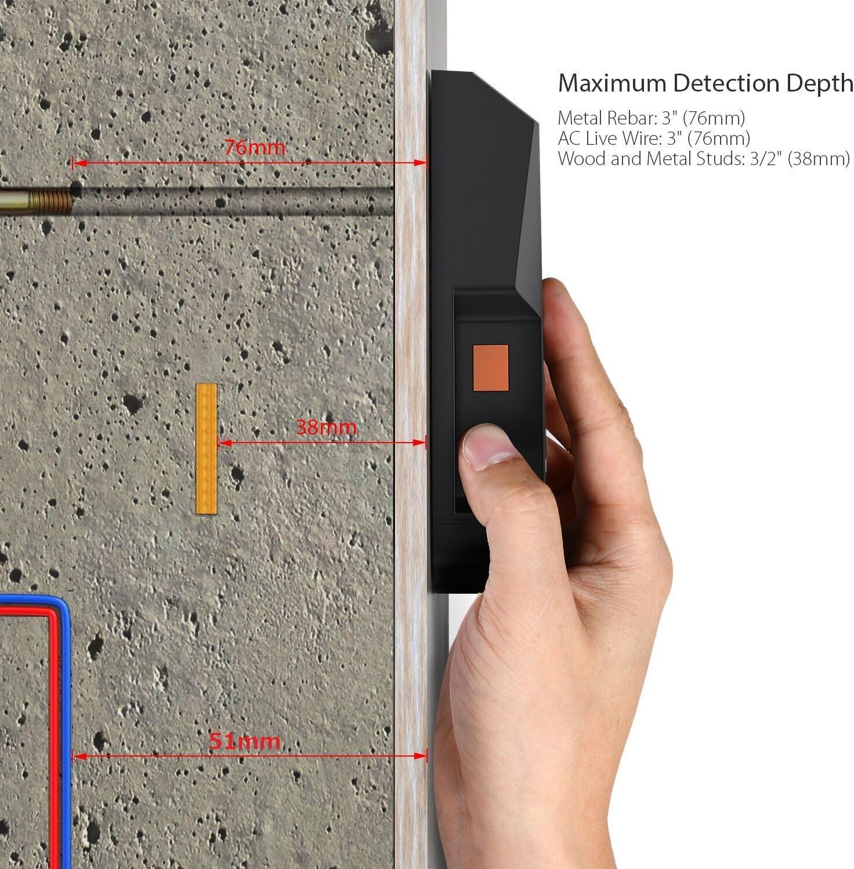 Hootracker Detector de Pared LCD multifuncional localizador digital Madera studs centro buscador de Metal y AC Cable Live Wire esc/áner recargable incluye detecci/ón de alerta