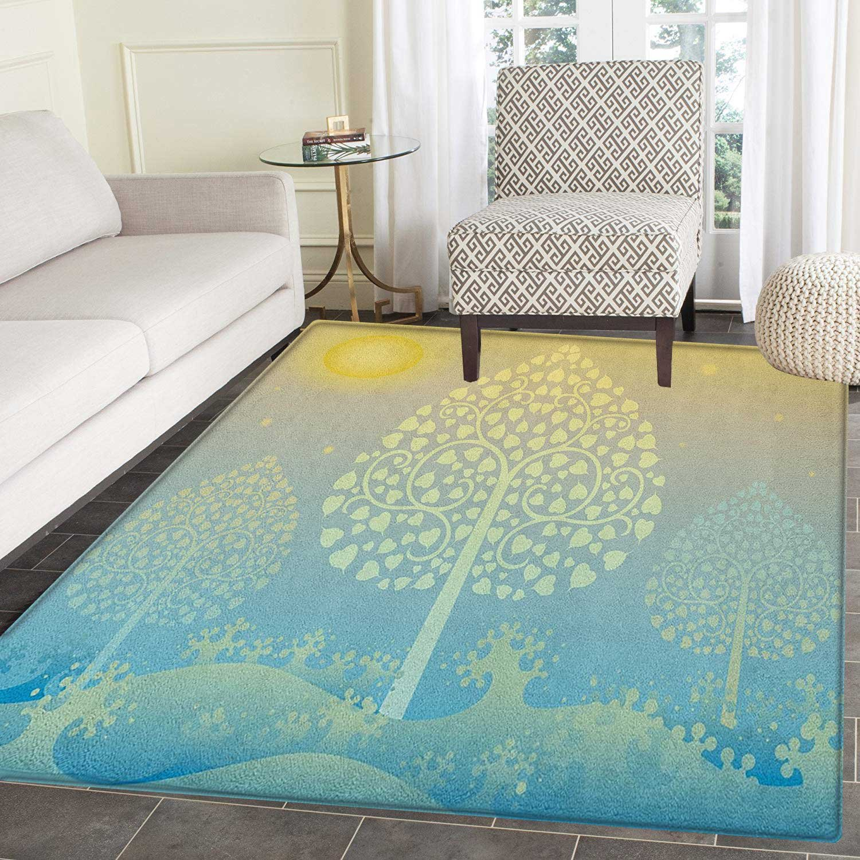 Art Rug Kid Carpet Thai Pattern Design Illustration of Gold Tree Oriental Culture Asia Eastern Ways Home Decor Foor Carpe 2'x3' Gold Sky Blue