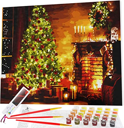 DIY Paint by Numbers for Adults Framed Canvas Beginner to Advanced Christmas Tree Magic by Opalberry Paint by Number for Adults Acrylic Painting Kit for Adults 16x20 Wood Frame