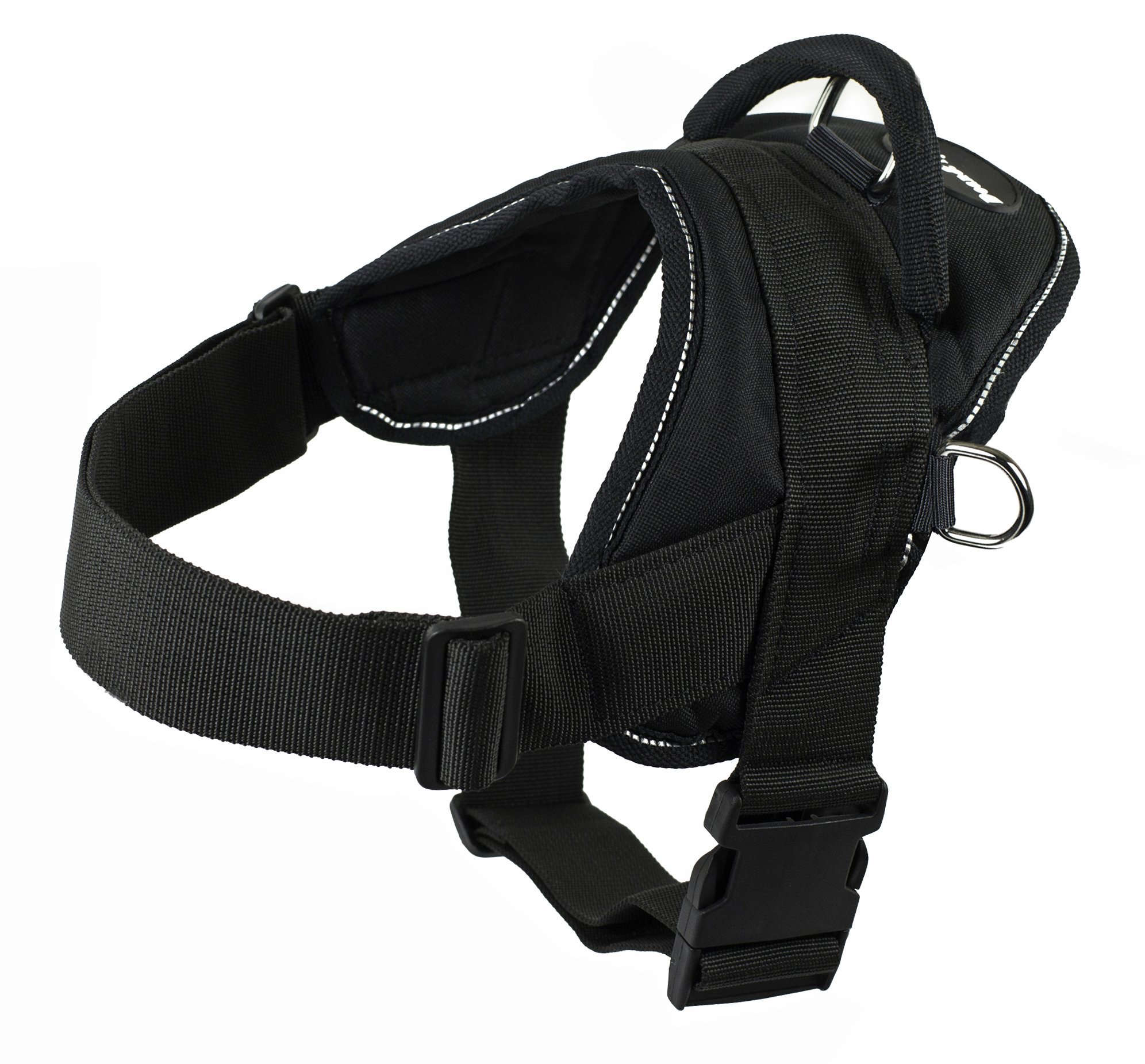 Dean and Tyler DT Dog Harness, Black With Reflective Trim, Large - Fits Girth Size: 32-Inch to 42-Inch