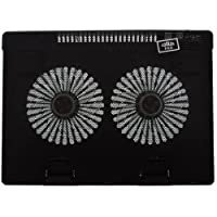 Neon Laptop Notebook Cooling Pad 668 with 2 Fans & Blue LED Lights (Black)