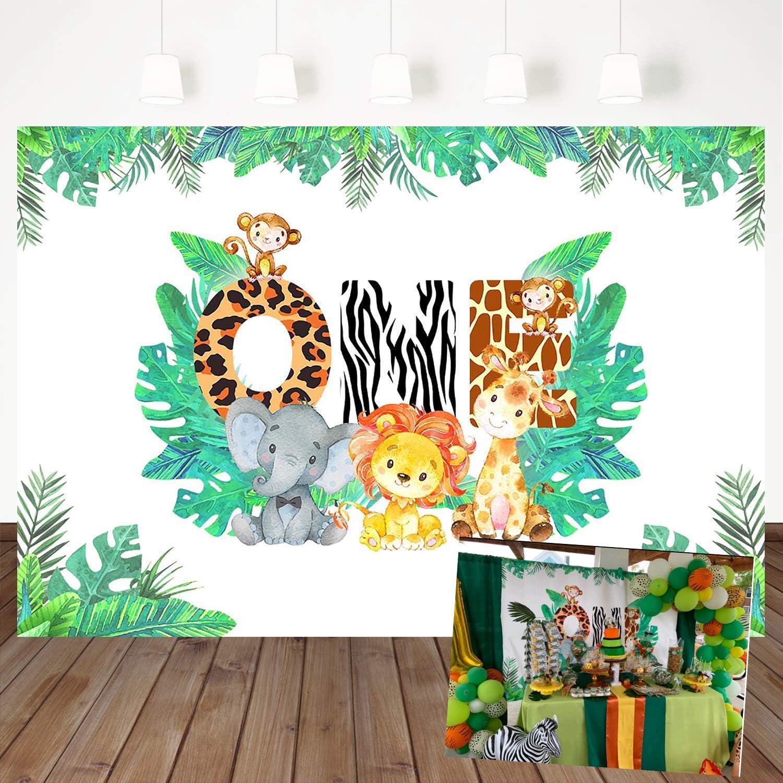 Mehofoto Jungle Theme Background 1st Birthday Backdrop Safari Animals Zoo Background For Boy 7x5ft Lion Giraffe Elephant Monkey Animals Boy Baby