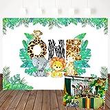 Mehofoto Jungle 1st Birthday Backdrop Safari Animals Zoo Background for Boy 7x5ft Lion Giraffe Elephant Monkey, Animals Boy Baby First Birthday Party Banner Decorations