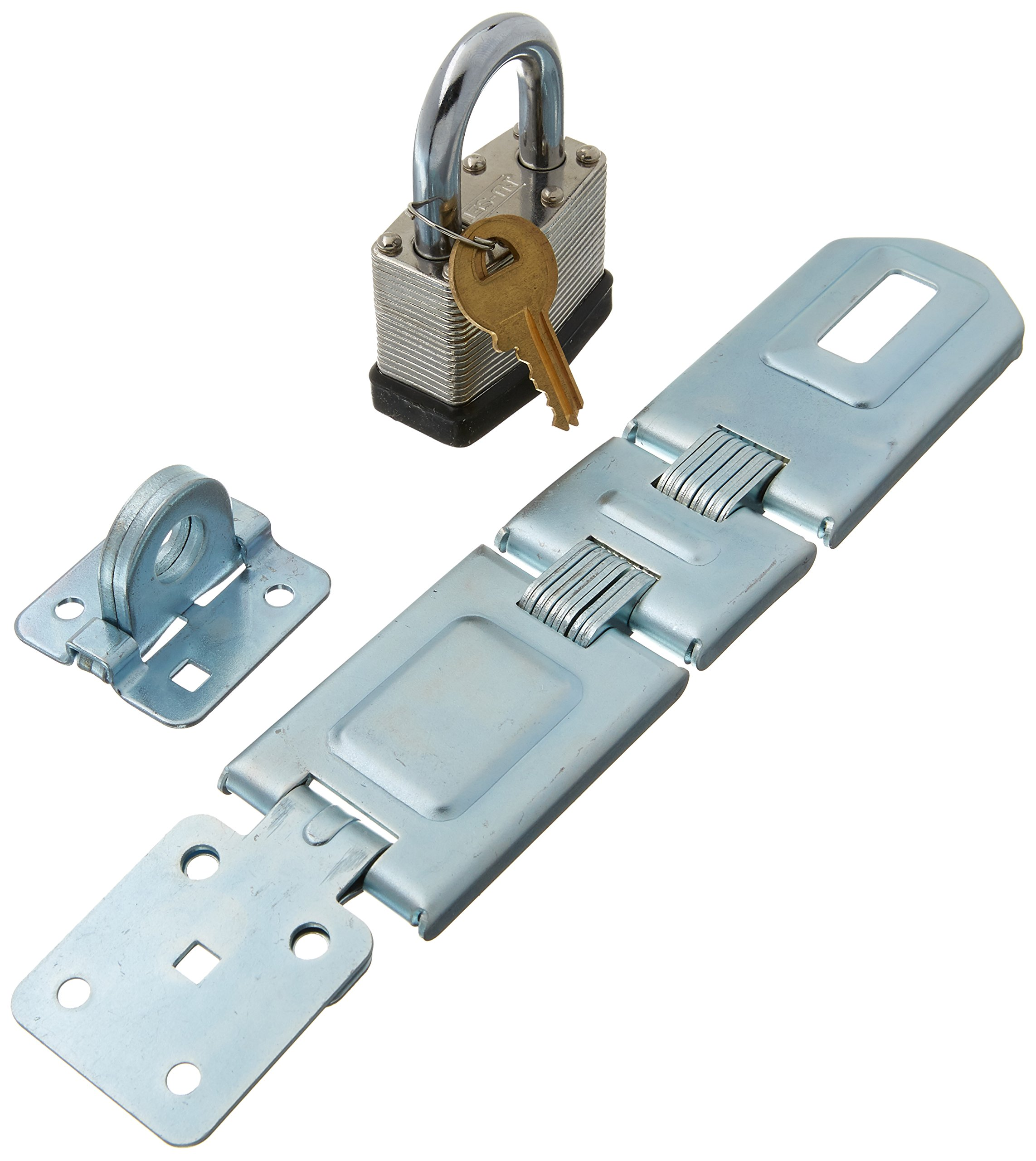 NU-SET 2703+5262 Nuset 7-1/2 Double-Hing Hasp with One Laminated Steel Padlock