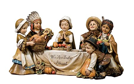 Joseph s Studio by Roman We are Truly Blessed Pilgrim Kids Harvest 10.5 x 5 Inch Table Top Figurine