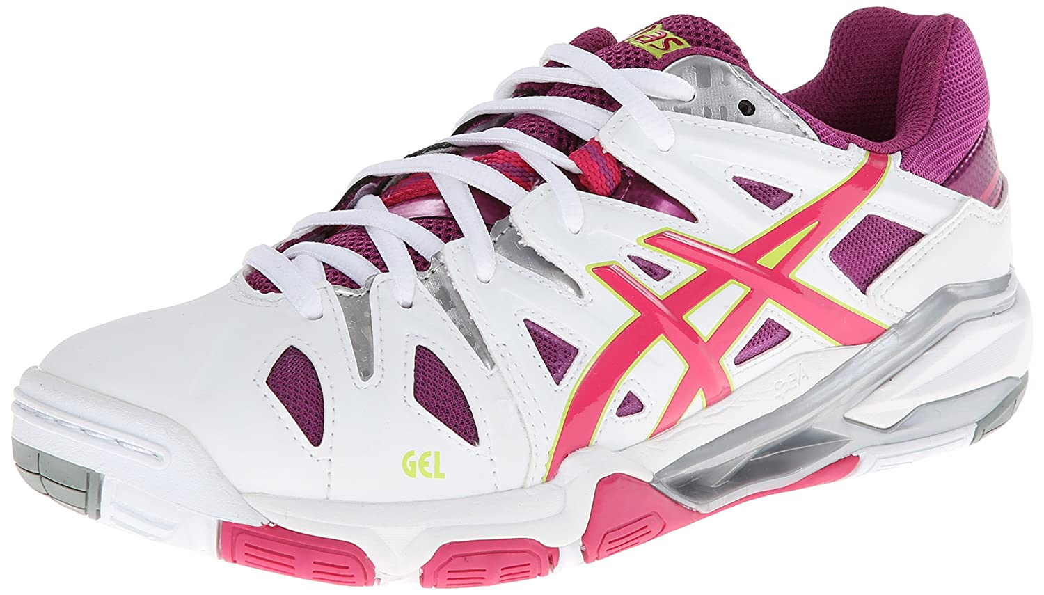 ASICS Women's Gel Sensei 5 Volley Ball Shoe B00GY06XME 9.5 B(M) US|White/Magenta/Silver