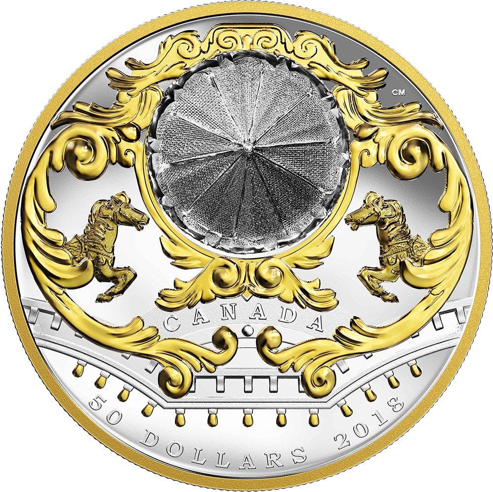 Power Coin ANTIQUE CAROUSEL Karussell Bewegliche Miniatur 6 Oz Silber Münze 50 Canada 2018