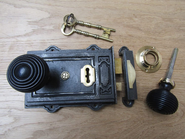 Beehive Teak + Brass IRONMONGERYWORLD/® Antique Iron CAST Iron Davenport Lock Old Vintage Retro Rim Door knob Handles