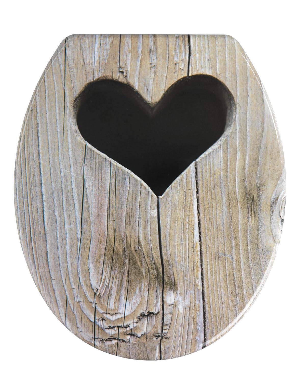 WENKO 19652100 Seduta WC Cottage - fissaggio in acciaio inossidable, Etilene vinil acetato, 38 x 45 cm, Multicolore