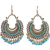 Tiaraz Fashion German Silver Beaded Chandbali Hook Earrings Jewellery for Women