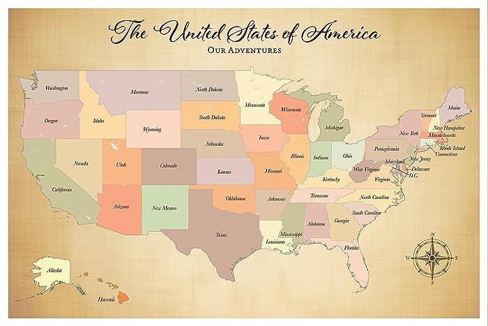 United States Push Pin Travel Map Paper Anniversary Gift Idea 1st Anniversary