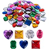 """Super Z Outlet 1"""" Assorted Colorful Adhesive Stick-On Heart Star Round Shaped Jewel Gems for Arts & Crafts, Themed Party Deco"""