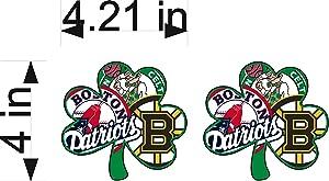 "Boston Sports Fan NEW Shamrock Logo / PAIR / 4"" Vinyl Vehicle Decals Red Sox, Bruins, Celtics, Patriots Graphic Stickers"