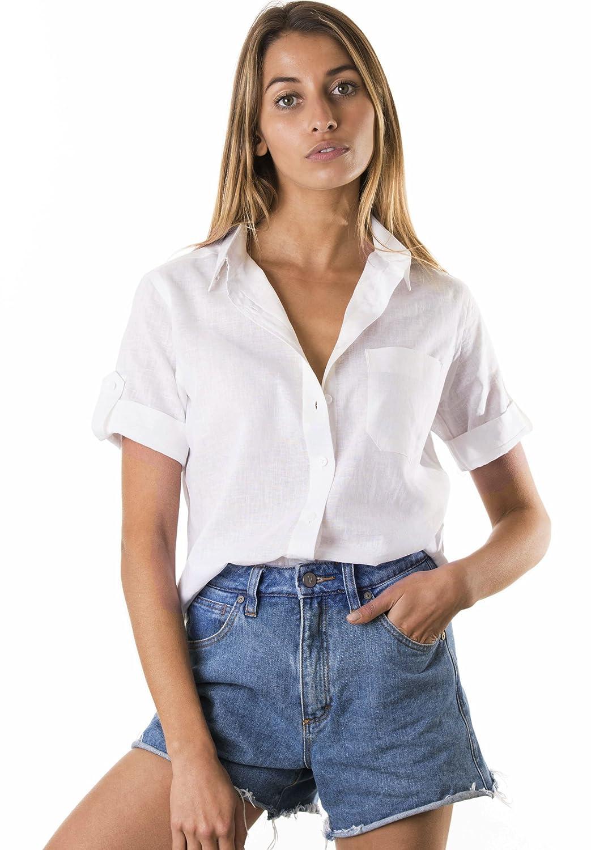 f64d10ba6dd CAMIXA Women's Short Sleeve Casual Linen Button-Down Keep Cool Camp Shirt  at Amazon Women's Clothing store: