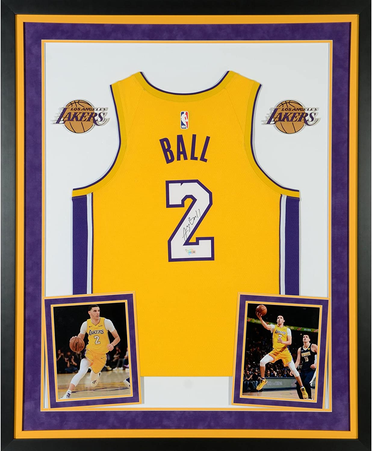 timeless design 25584 34474 Lonzo Ball Los Angeles Lakers Deluxe Framed Autographed Nike ...