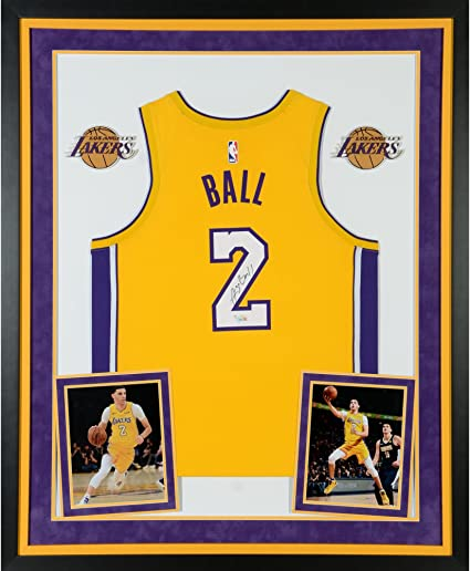 aef40de3a355 Lonzo Ball Los Angeles Lakers Deluxe Framed Autographed Nike Gold Swingman  Jersey - Fanatics Authentic Certified