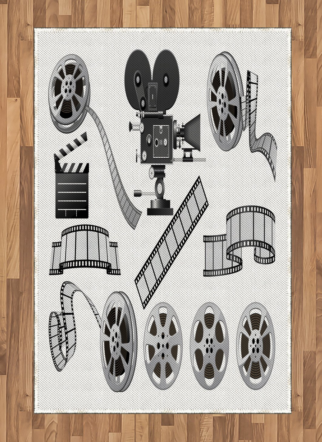 Ambesonne Movie Theater Area Rug, Movie Industry Themed Greyscale Illustration of Projector Film Slate and Reel, Flat Woven Accent Rug for Living Room Bedroom Dining Room, 4 X 5.7 FT, Grey Black