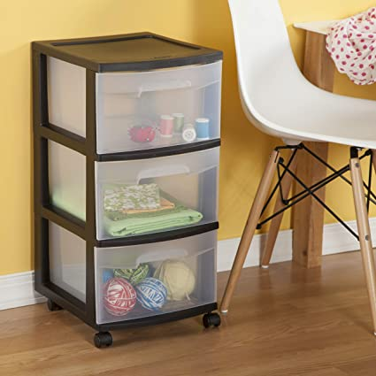 6 Pack Sterilite 3 Drawer Storage Cart with Clear Drawers and Black Frame