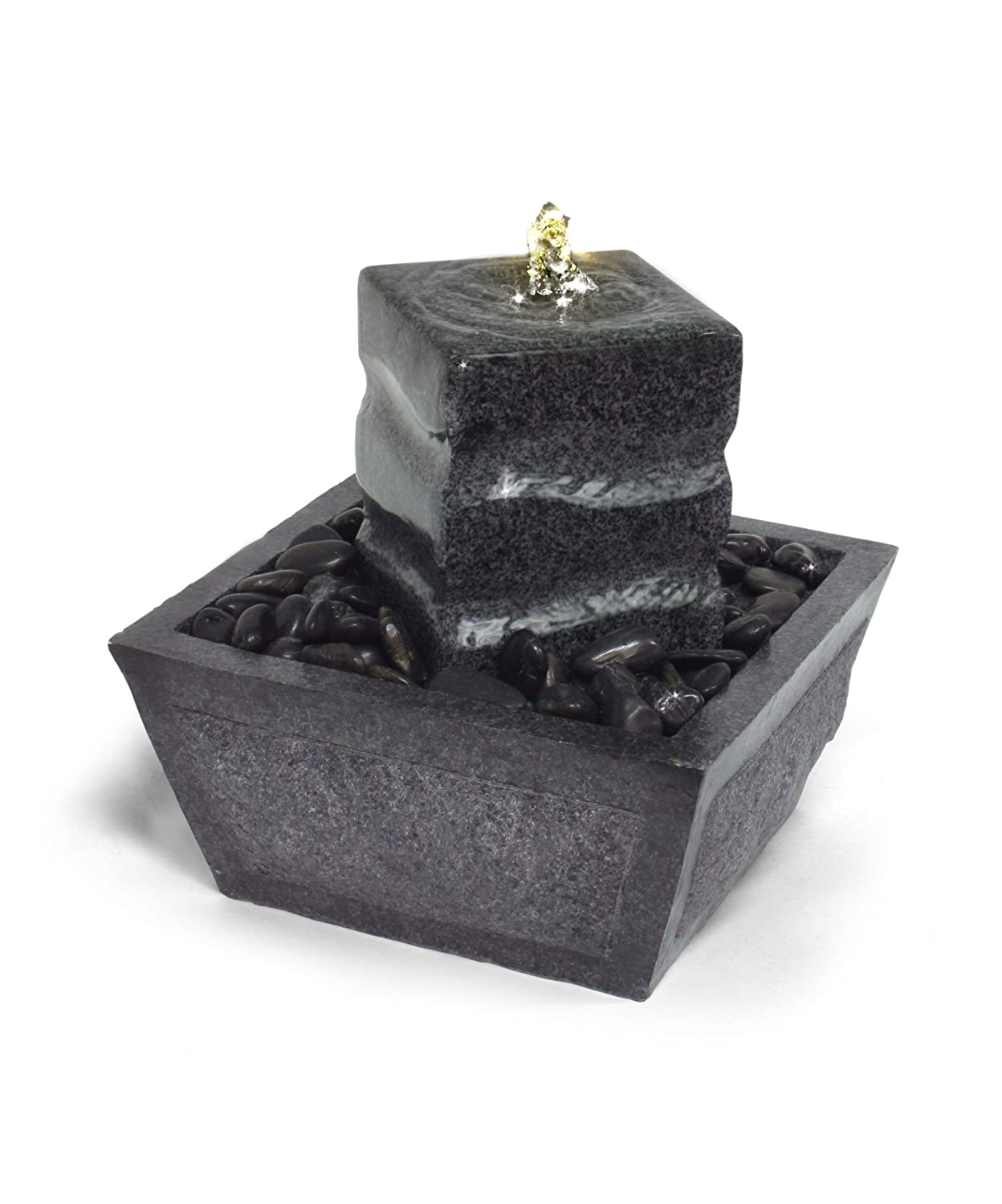 Algreen Illuminated Relaxation Fountain with Granite Pillar and Natural Stones