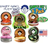 """Crazy Aaron's Thinking Putty Mini Tin Gift Set Bundle (Sample Set 3) with Super Fly, Neon Flash, Love is in the Air, Super Lava, Amber & Exclusive """"Scorpion Skin"""" Glow in the Dark - 6 Pack"""