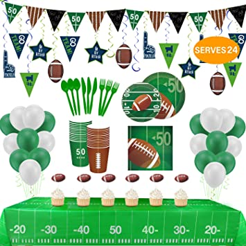 FOOTBALL PARTY SET PARTY FLAG TABLE COVER BANNER