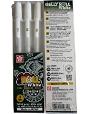 Sakura Gelly Roll Pen White Assorted Sizes, Fine/Medium/ Bold - 3 Pen Set (White - 3 Sizes)