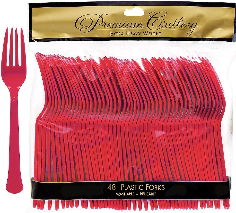 Apple Red Premium Heavy Duty Plastic Forks, 48 Ct.