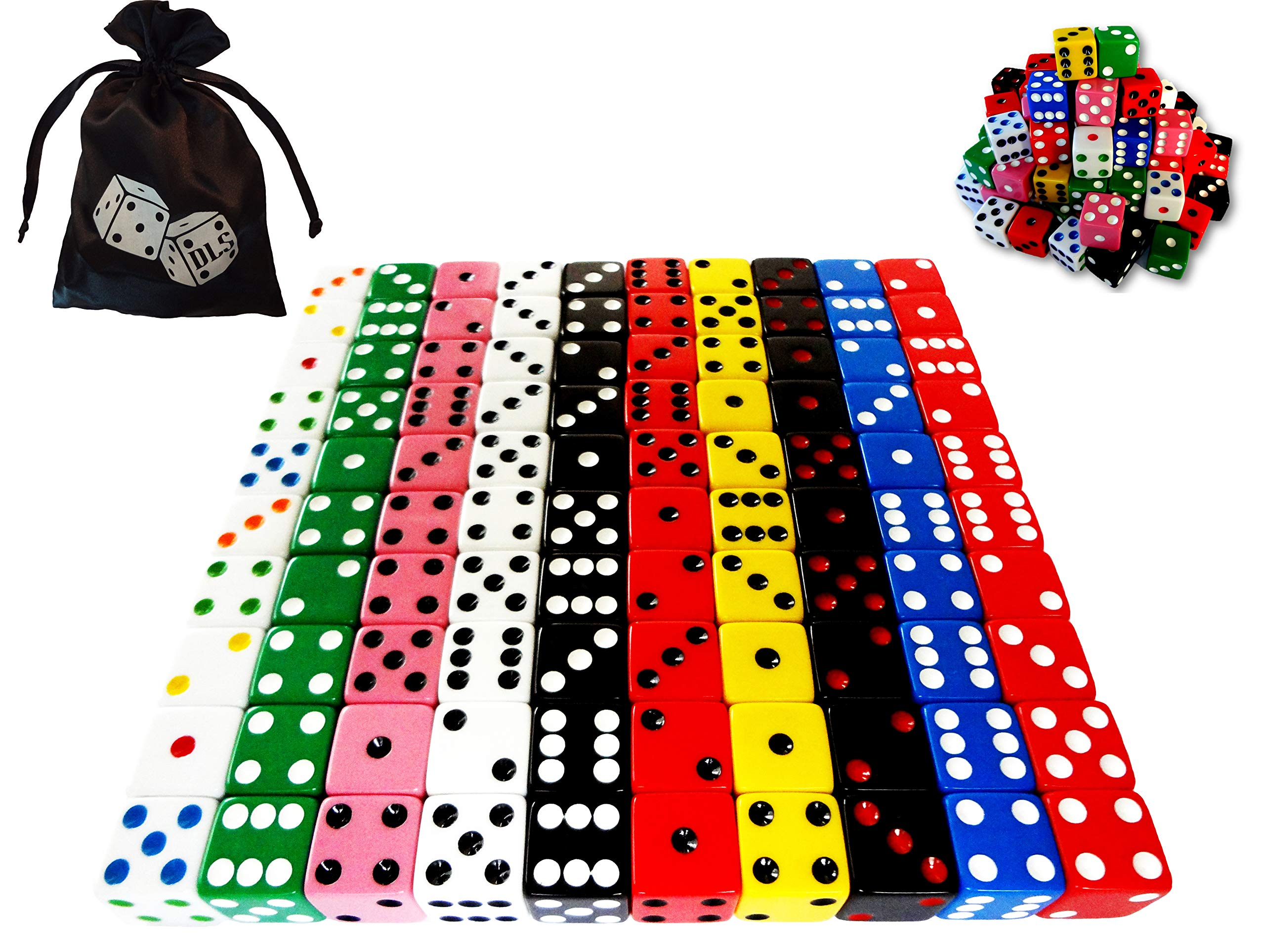 Discount Learning Supplies 100-Piece 16 mm Assorted Colored Dice with Storage Bag by Discount Learning Supplies