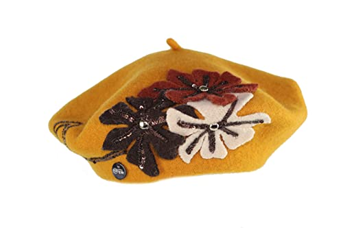 Complit ®, Donna, cappello invernale, basco lana, senape, taglia unica, 100%MadeInItaly