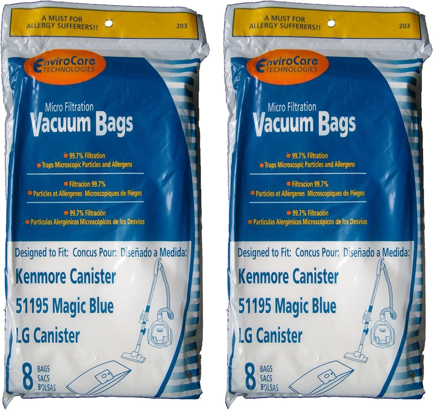 16 Kenmore Type M Sears 51195 Magic Blue LG Vacuum Bags, Ultracare, Canister Vacuum Cleaners, 20-51195, 609323, 21195, 21295, 24195, 21495