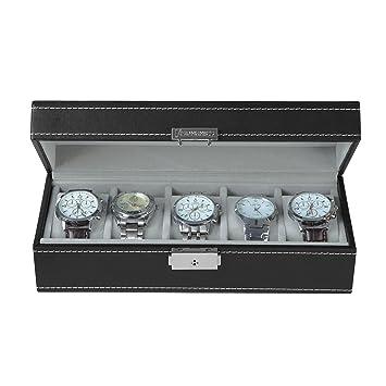 Songmics Caja de reloj organizador Caja para 5 de Relojes Joyería Soporte de Exhibición de Relojes caja JWB05B: Amazon.es: Hogar