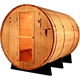 Canadian Pine Wood 6' Foot Outdoor Barrel Sauna, 4 person, with 6KW Wet or Dry Heater and Lava Rocks