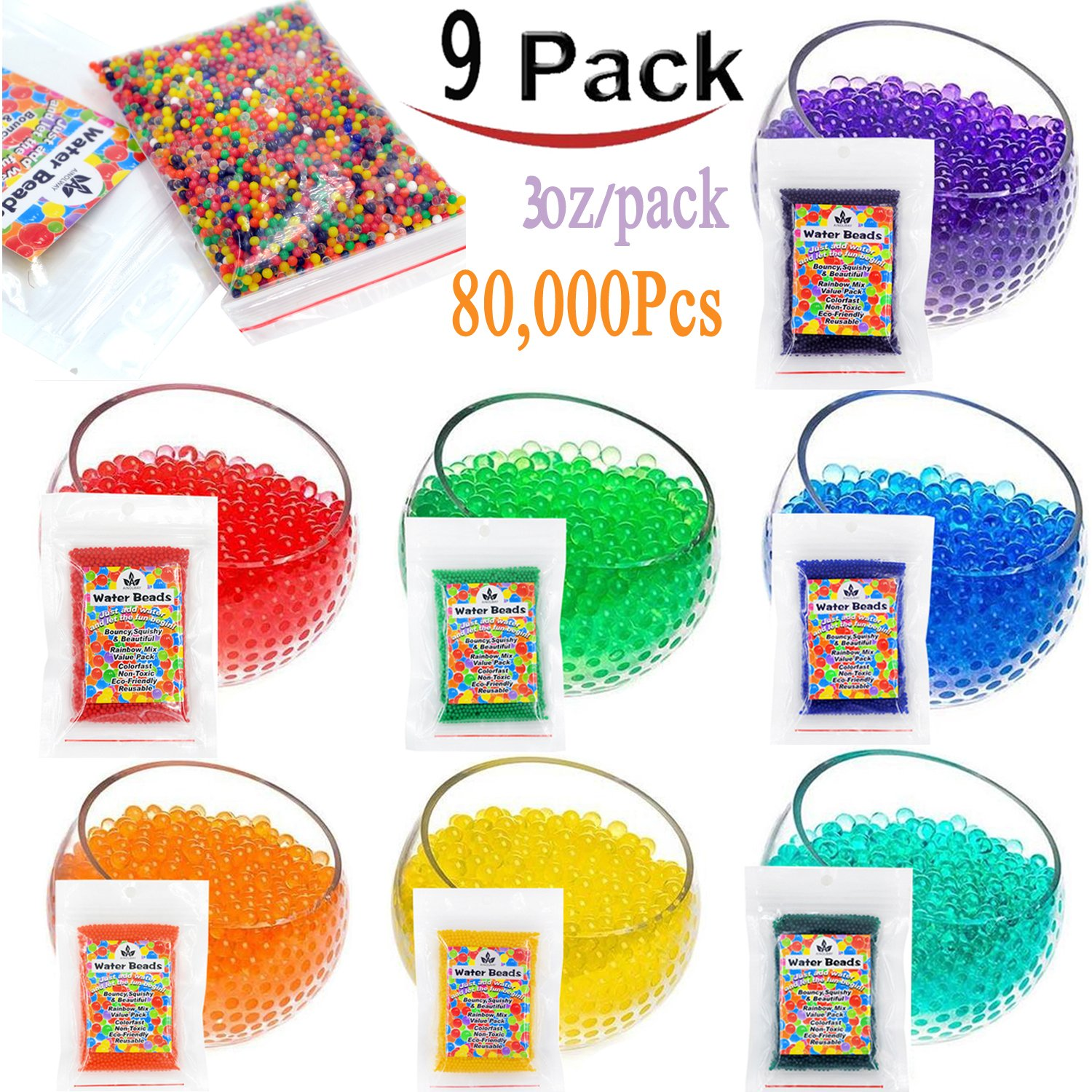 AINOLWAY Water Beads 30 OZ 80 000 Beads Crystal Water Gel Bead for Kids Sensory Toys Vase Filler Home Décor Transparent Jelly Pearls 9 Pack Water Bead