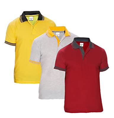 Baremoda Men s Polo T Shirt Maroon Grey Yellow Combo Pack of 3 (Medium) 7bbd0307fc4