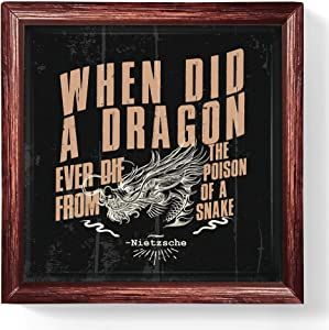 Cool Bar Decor | Dragon Lover Gifts | Tile Artwork Dragon Lover Gifts | Awesome Dragon Decor | Unique Dragon Gifts | Dragon Decorations for Home or Office | Motivational Gifts and Philosophy Gifts
