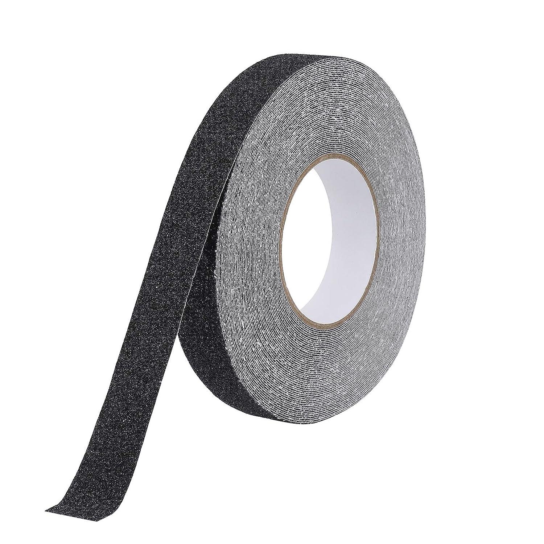 Cinta Antideslizante Seguridad Adhesiva Respaldados, 2.5cm × 20m Alta Tracción Fuerte Apretón Abrasivo para Escaleras, Seguridad, Paso de Rastro, Interior, al Aire Libre, Negro
