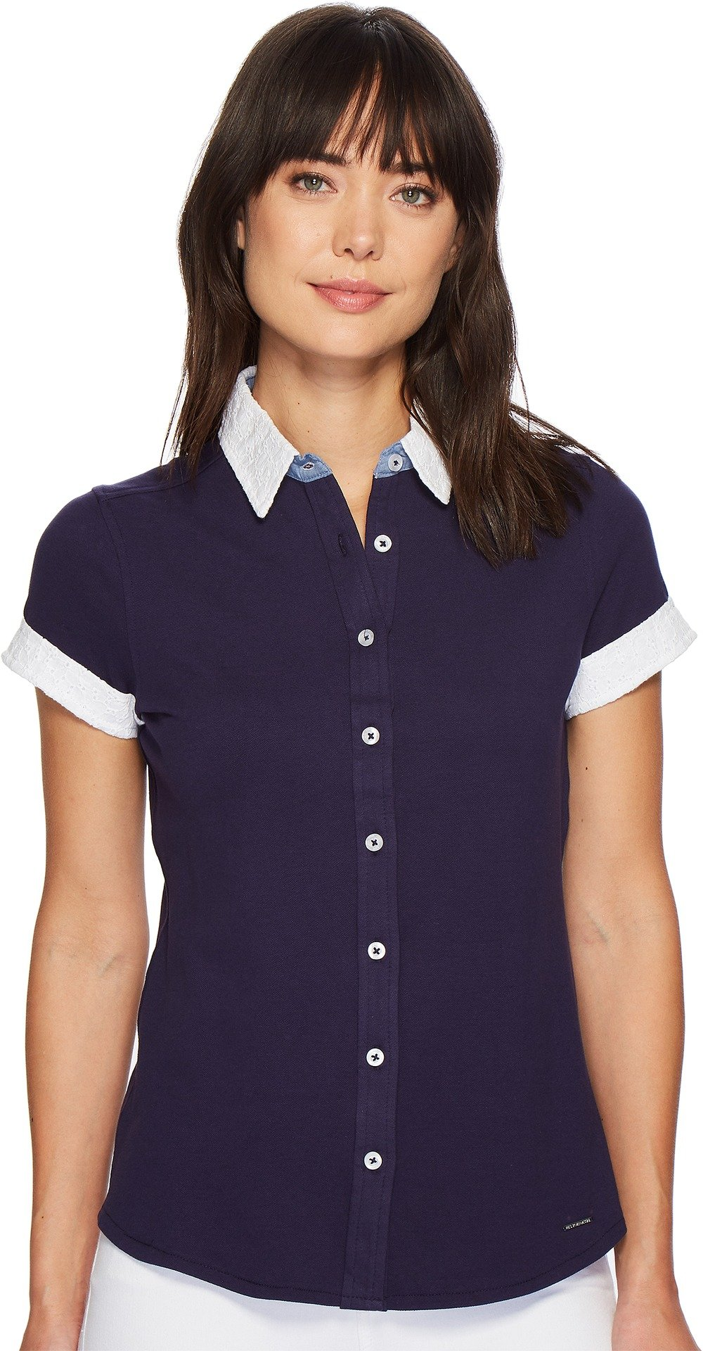 U.S. Polo Assn. Women's Short Sleeve Fashion Blouse, Evening Blue, L by U.S. Polo Assn.