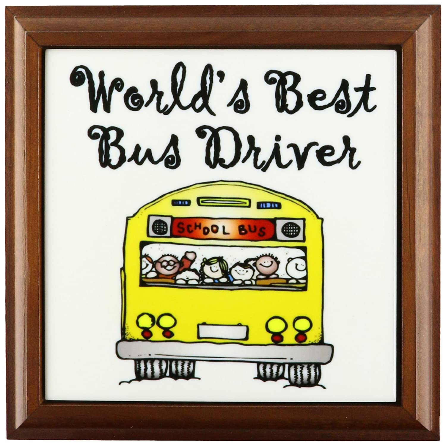 3dRose ft_193351_1 Worlds Best Bus Driver Framed Tile, 8 by 8'