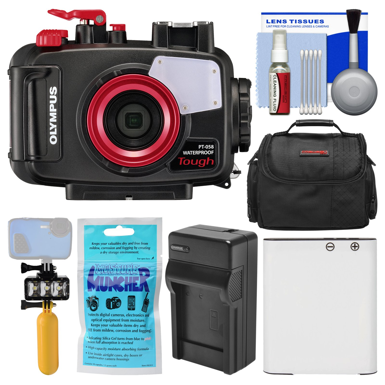Olympus PT-058 Waterproof Underwater Housing Case for Tough TG-5 Camera + Case + Li-90B Battery & Charger + Underwater Video Light + Float Handle Kit
