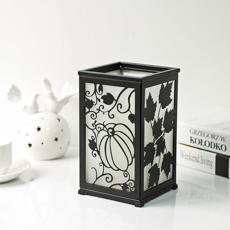5 x 5 x 8.5 Black GiveU Decorative Led Candle Lantern with Timer Rustic Candle Lantern with Twelve Magnetic Seasonal Themed Panels
