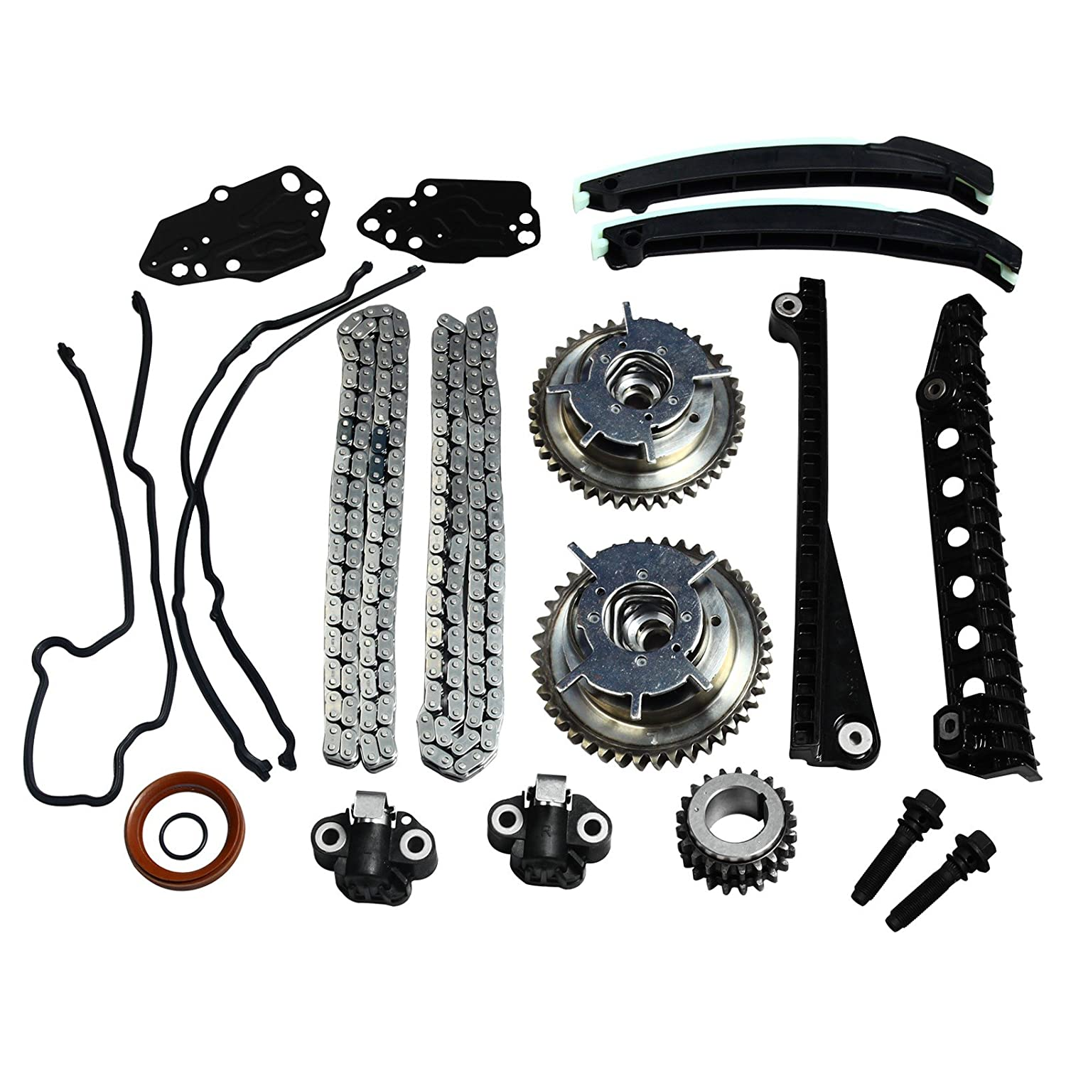 Timing Chain Kit, Cam Phasers (Both Left & Right) & Cover Gasket Fit For 04-08 Ford 5.4L 3V F-150 F-250 & F-350 Super/Lincoln Mark Navigator yjracing