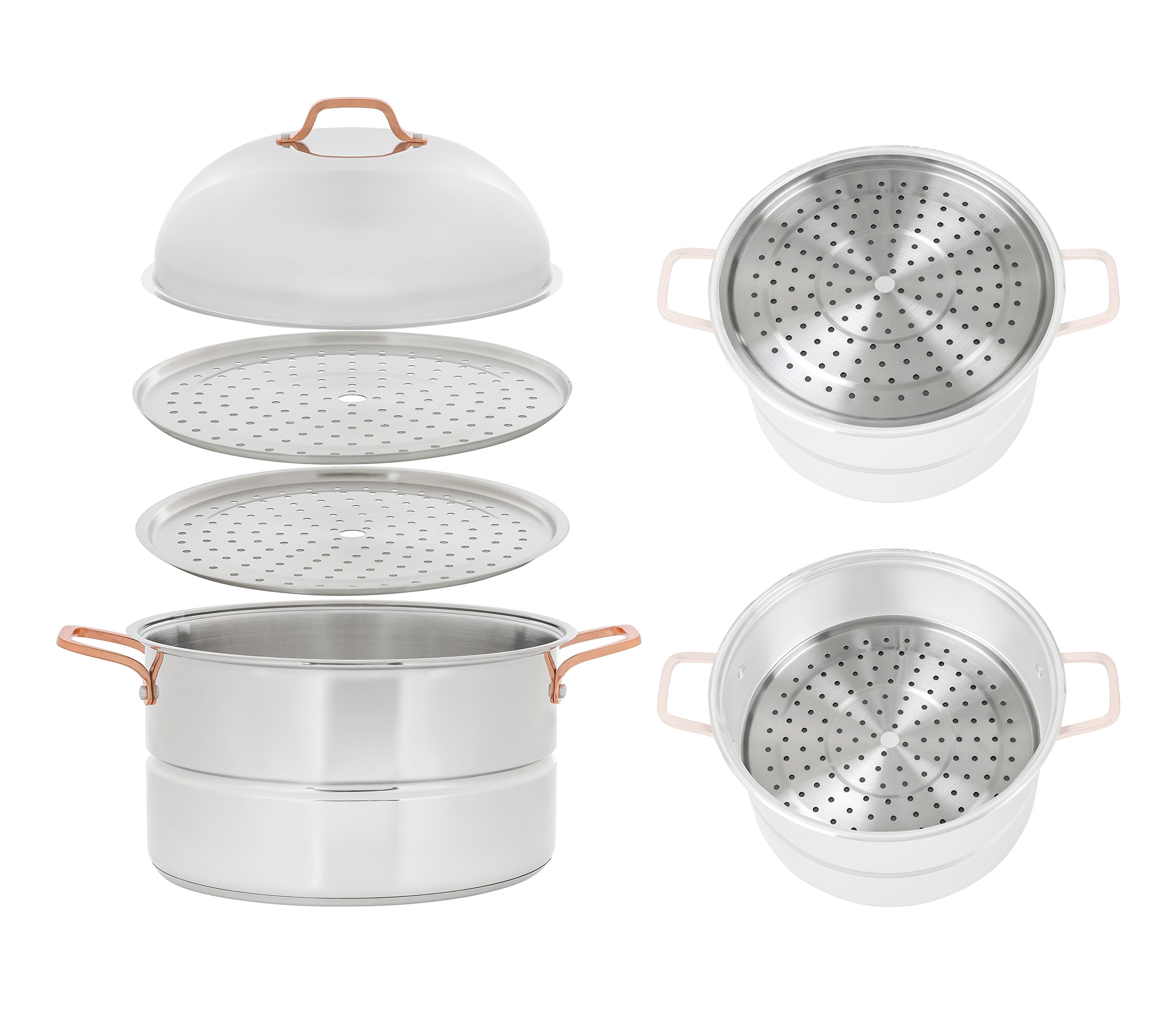 CONCORD 18 Quart Premium Stainless Steel 3 Tier Steamer w/Rose Gold Handles 34 CM (Extra Large) (V.2 2019 New Model) by Concord Cookware (Image #2)