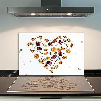 Herdabdeckplatten 80x52 cm Ceranfeld Abdeckung Glas Spritzschutz Küche Orange