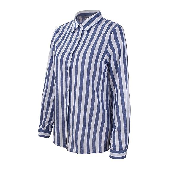 Camiseta de Manga Larga para Mujer, Estilo Casual, Moda Raya Camisa, Color Caramelo Tops, Trabajo Ocio Camiseta, Poliéster Camisa, 4 Colores S-XL: ...