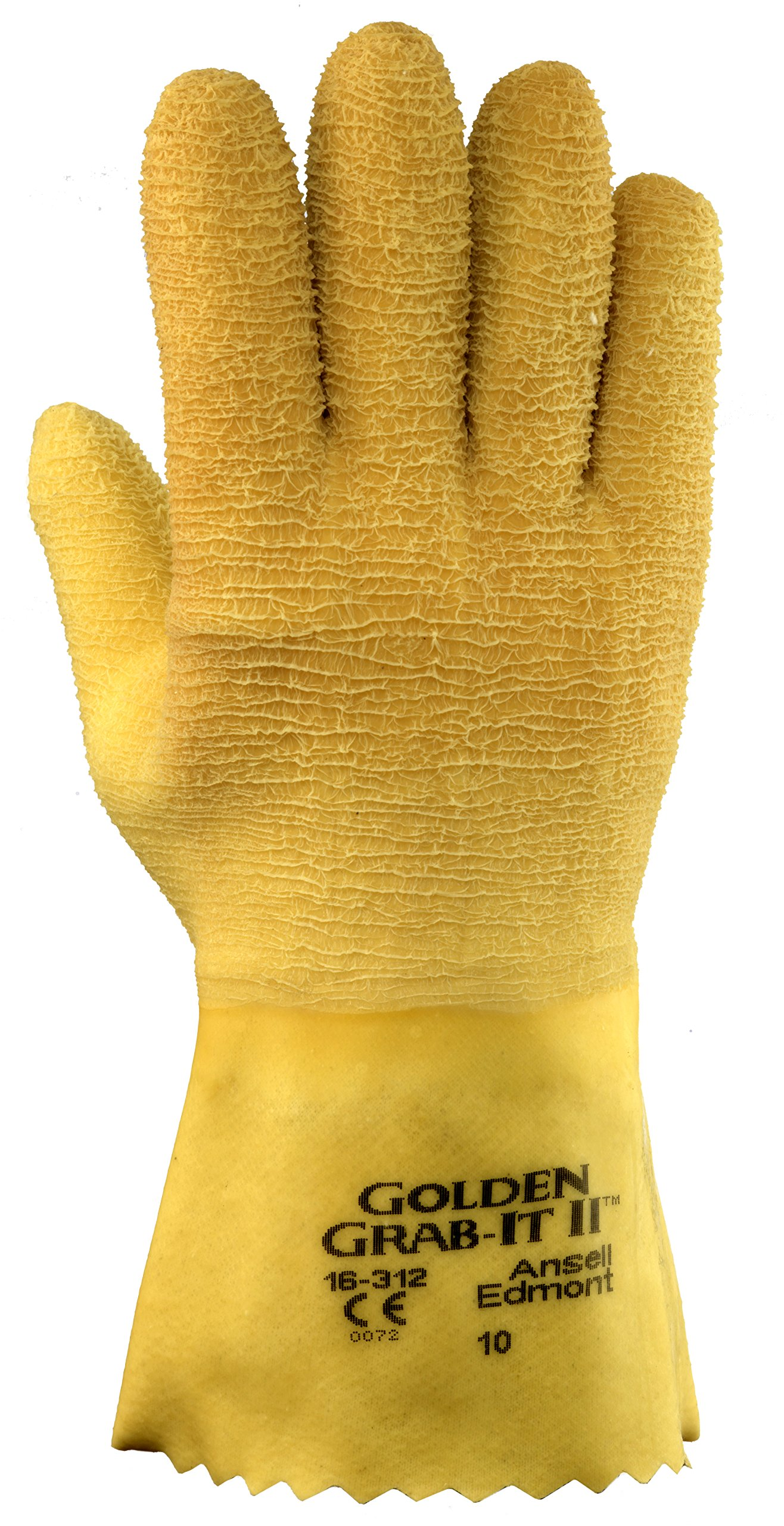 Ansell 16312 Golden Grab-It II Premium Latex-Coated, Crinkle Finish Gloves, 12.5'' Length, 5.5'' Width, 0.71'' Height, Size 10, Yellow (Pack of 12)